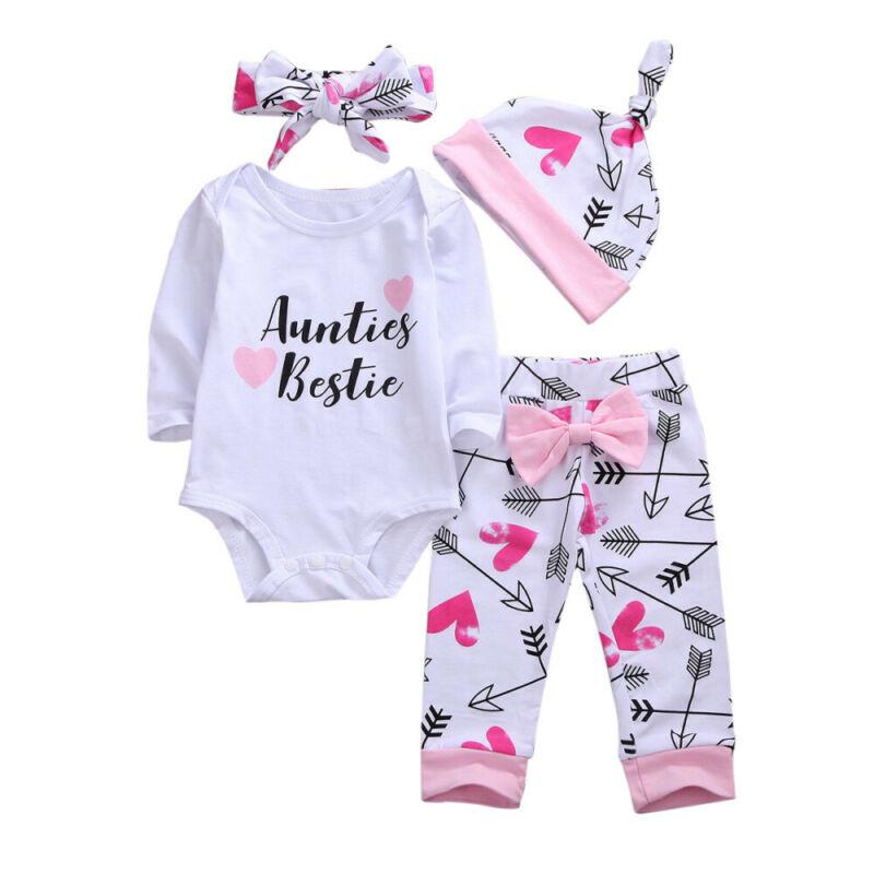 4PCS Set Aunties Bestie Newborn Baby Girl Long Sleeve Cotton Bodysuit Tops Arrow Long Pant Headband Hat Outfits Baby Clothes