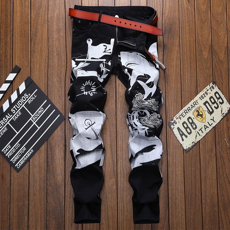 Новинка 2021, мужские джинсы в европейском и американском стиле, модные облегающие индивидуальные черные прямые брюки-трубы с принтом чернил ...