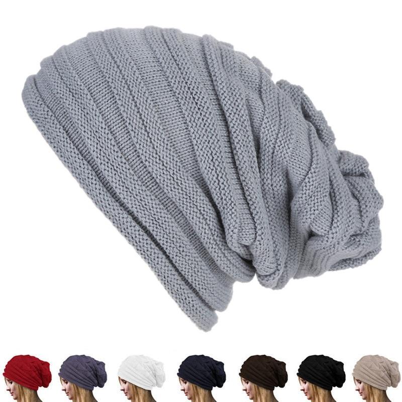 Зимняя мешковатая яркая трикотажная теплая шапка для мужчин и женщин, Мужская облегающая шапка, зимняя шапка большого размера для катания н...