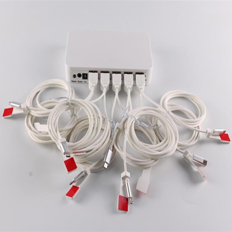 (3 set/lot) 2020 manufacturer mobile phone security alarm charging display stand 10 USB port secure EAS system enlarge