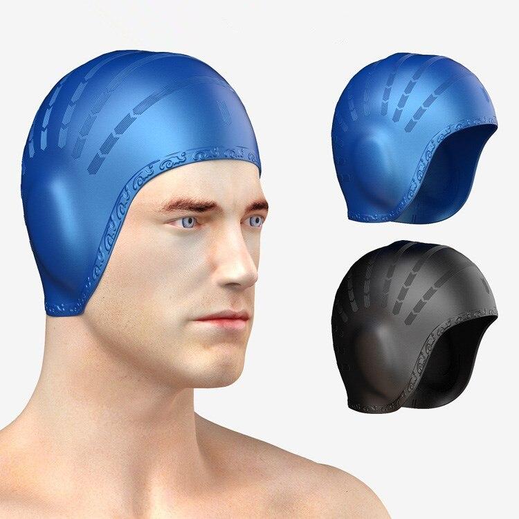 Гибкая силиконовая гелевая шапка для плавания с ушами для мужчин и женщин, мужская, спортивная водонепроницаемая шапка с длинными волосами ...