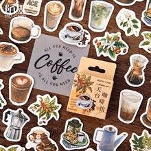 Mini autocollant vintage de café de toit   Étiquette scrapbooking, en papier, vintage, en paquet, décoration pour journal intime, diy bricolage, 46 pièces/boîte