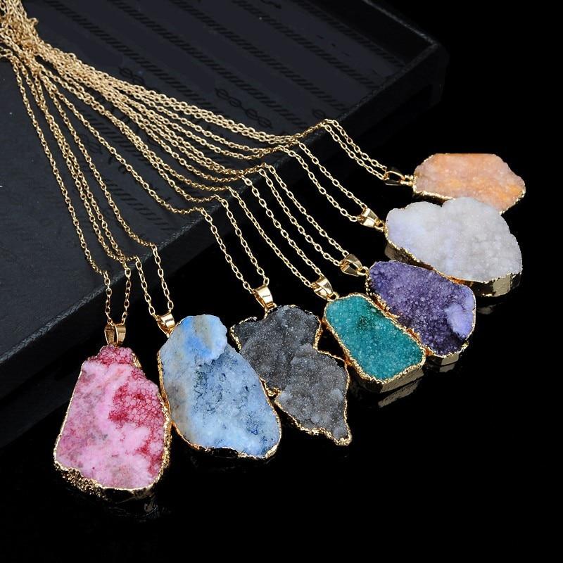 Naturalny kamień kwarcowy pani naszyjnik naturalne nieregularne kwarcowy naszyjnik naszyjnik collares de moda 2019