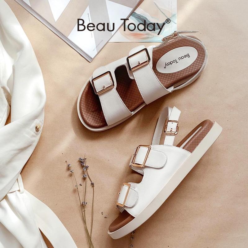 BeauToday-صندل نسائي غير رسمي من جلد البقر ، أحذية رياضية بكعب منخفض بإبزيم مزدوج ، مع حزام كاحل ، للشاطئ ، صناعة يدوية ، A38128