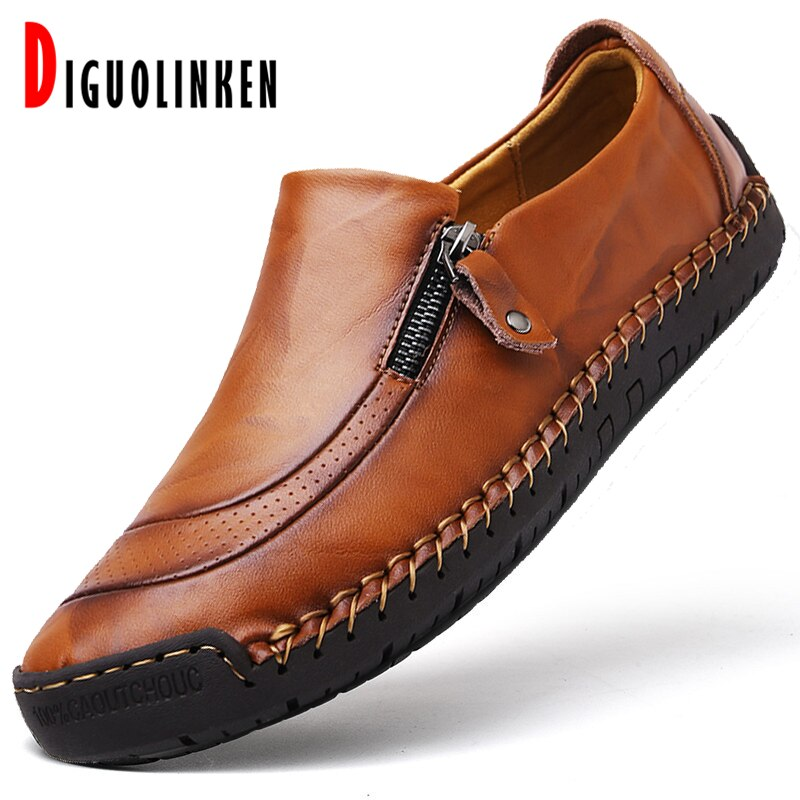 2020 Genuine Leather Shoes Men Luxury Men Loafers Shoes Classic Comfort Men Boots Waterproof Driving Footwear Moccasins Big Size