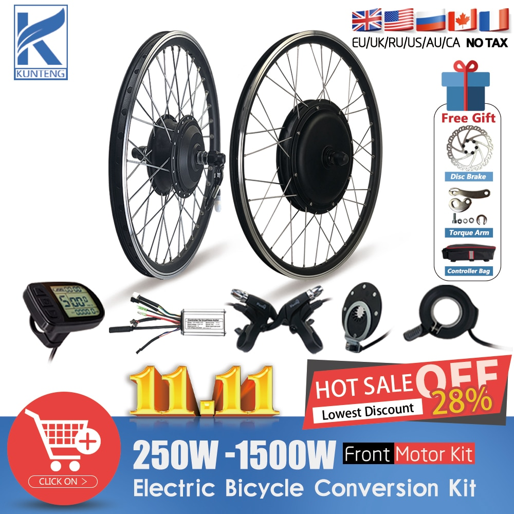 Electric Bicycle Front Wheel Hub Motor 36V 48V Brushless EBike Conversion Kit Use For 250W-1500W Front Motor Conversion Kit