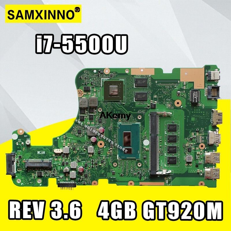 Placa base para portátil For Asus W519L X555LP X555LJ X555LDB X555LB X555LN X555LF X555LD X555L, MB REV I7-5500U 3,6, 4GB RAM, GTX920M/2G