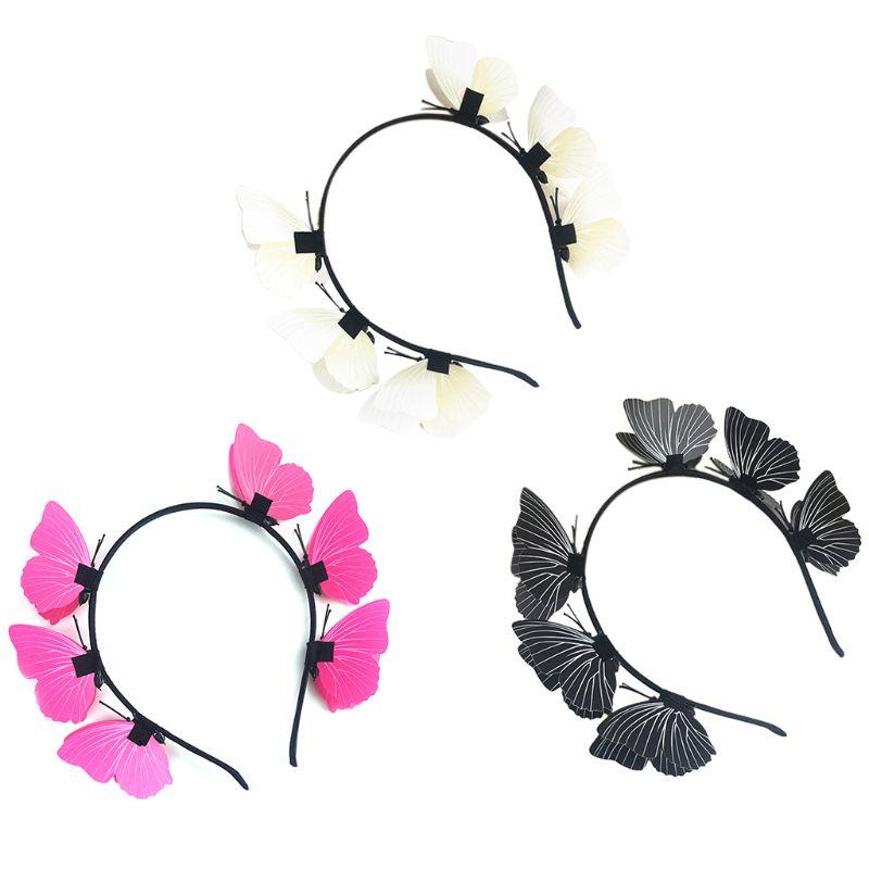 Diadema de mariposa dulce para mujer, tocado de estilo bohemio, tocado para fiestas, corona de fiesta, accesorios para el cabello de boda