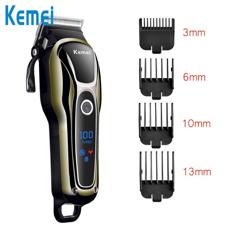Kemei 1990 cortadora de cabello eléctrica profesional, Barbero 4 peine cortador barba recortador 3c pantalla LCD máquina de afeitar del hogar sin cable D42