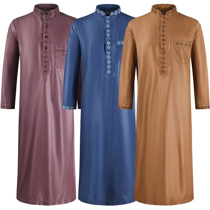 Men Traditional Muslim Jubba Thobes Arabic Islamic Clothing Fashion Embroidery Kaftan Saudi Arabia Dubai Abaya Long Dress Robes