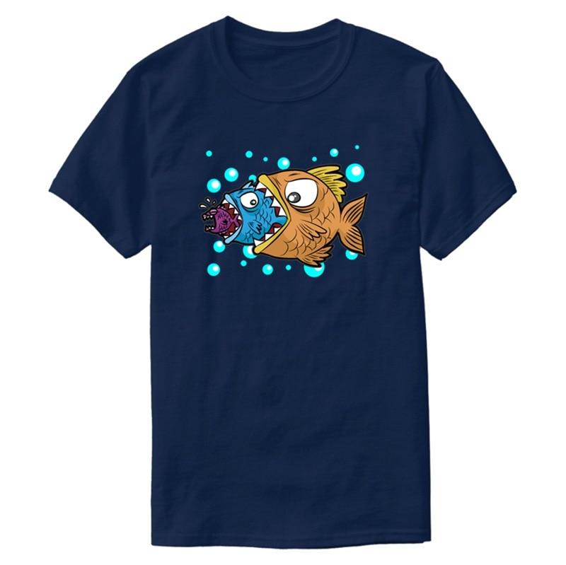 Printed Slogan Big Medium Small Fish Eating Food Chain Gift Comic T-Shirt Graphic White Gents Comical Tshirts