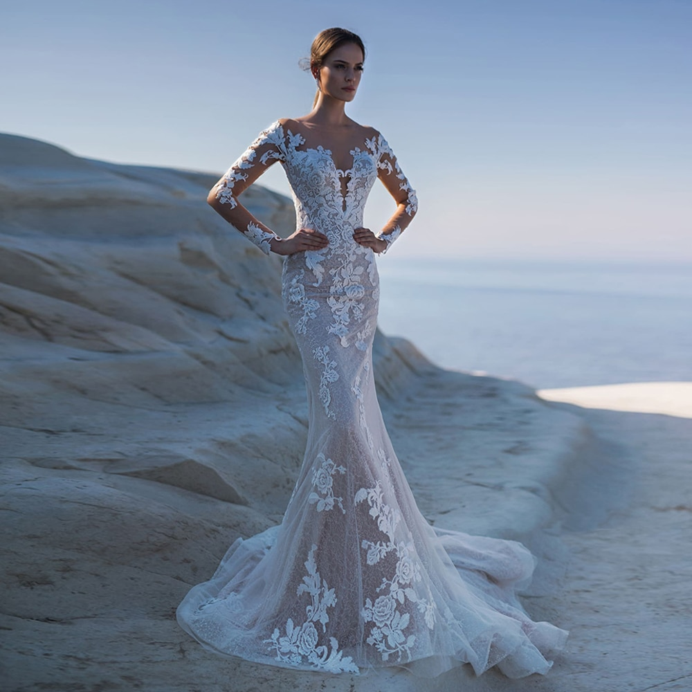 Review 2021 Hot Wedding Dress Sexy Robe De Mariee Scoop Neck Long Sleeves Glitter Lace Appliqued Mermaid Bridal Gown