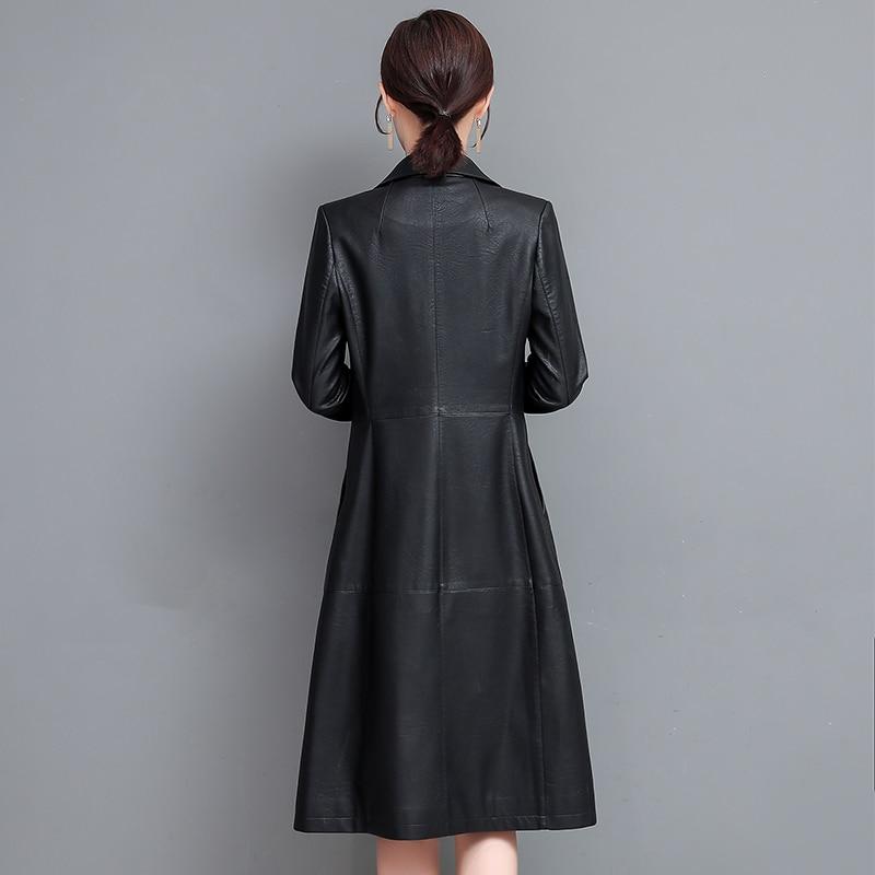 Long Leather Jacket Women Faux Leather Coat Autumn Winter Fashion PU Leather Overcoat Long Single Breasted Black Leather Jacket enlarge