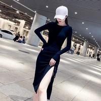 2021 spring winter autumn long summer fall dress elegant womanly waist closing to show figure slim split skirt sexy hip wrap