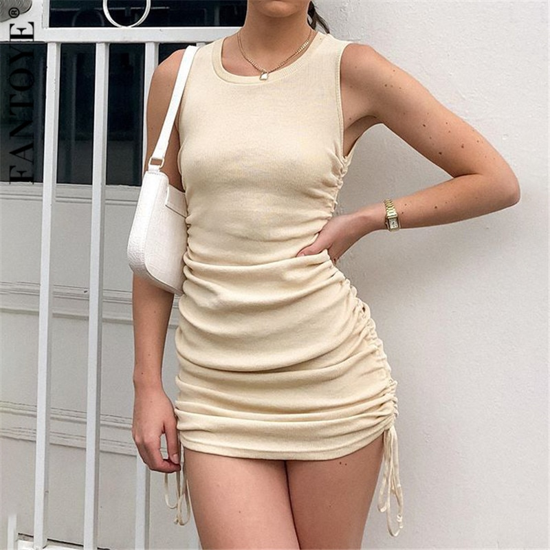 FANTOYE Cotton Ruched Drawstring Sexy Party Dress Women Sleeveless Elastic Mini Dress Vintage Summer