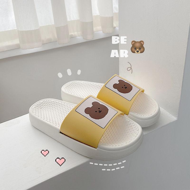 Sandals Lady Home Indoor Soft Slippers for Women Little Bear Platform Kawaii Shoes Summer 2021 New Beach Casual Footwear