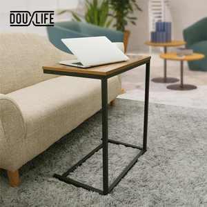 Douxlife Vintage C Shape Coffee Table Wooden Metal Frame Sofa Side Table End Table Home computer Desk Storage Holders Furniture