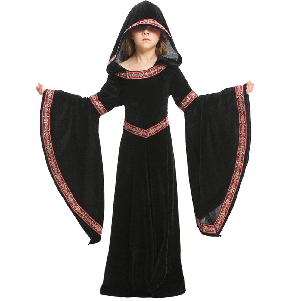 Traje renacentista medieval renacentista para chica, traje negro de vestidos elegantes chicas reina de la princesa para chico