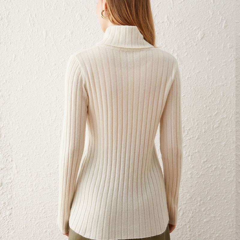 SHUCHAN 30% Cashmere 70% Wool SWEATER WOMEN Turtleneck Solid  Fall Clothes for Women 2021 Fashion Sexy enlarge