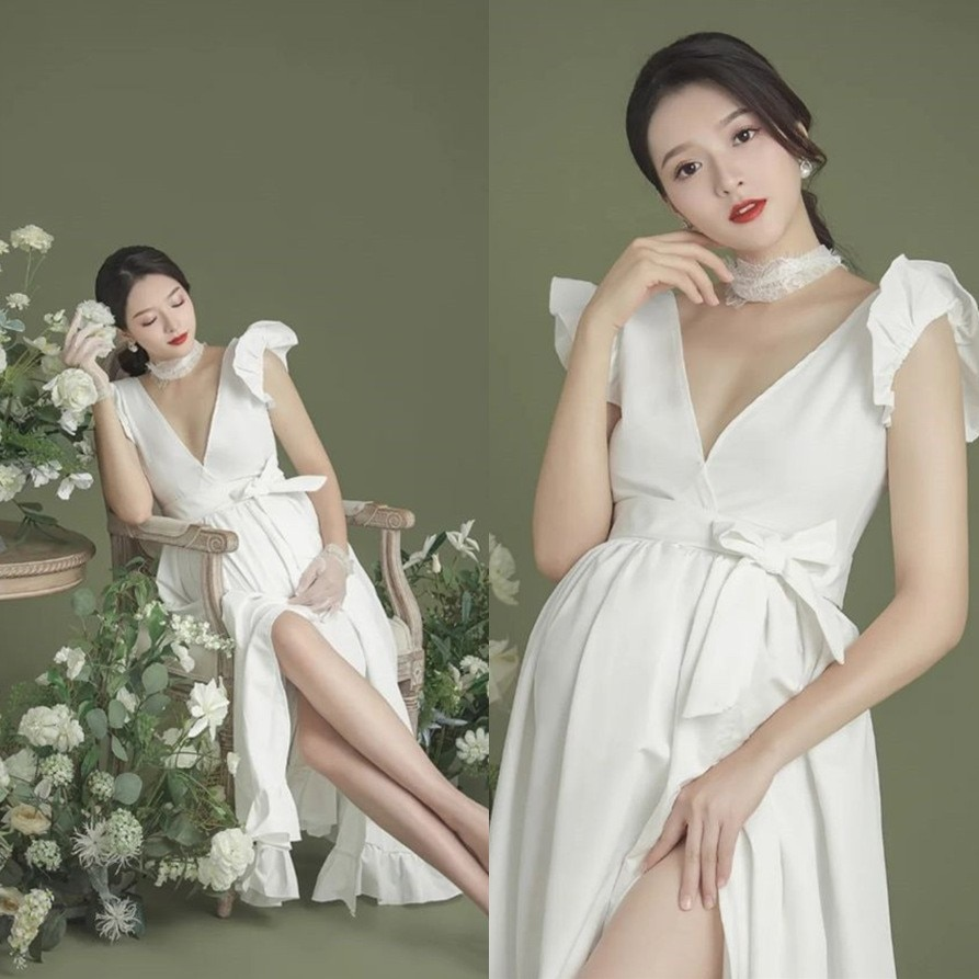 Women Pregnancy Photography Props Gown For Photo Shoot White Elegant Ruffle Sleeve V-neck Maternity Dress For Baby Shower 2021