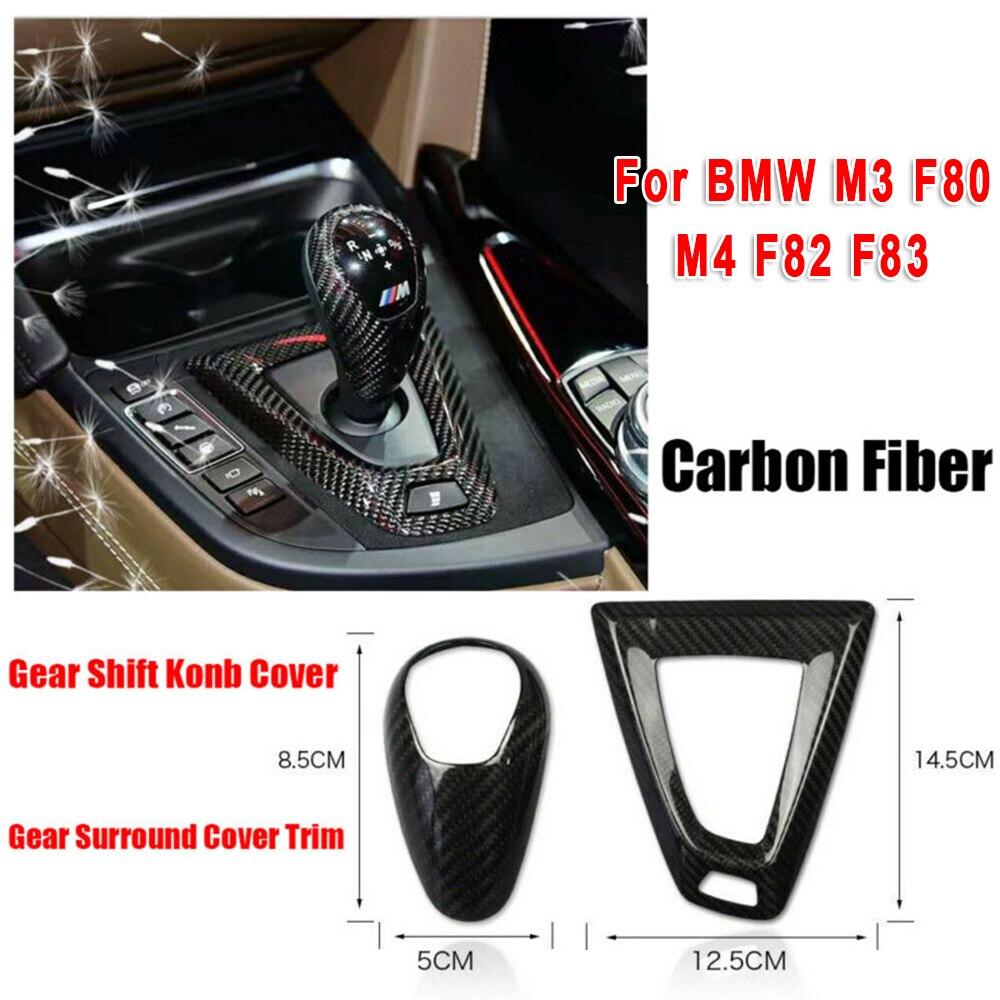 2 uds de fibra de carbono perilla de palanca de cambios de coche de Base pegatina de cubierta embellecedora elegante para BMW M3 F80 M4 F82 F83 LHD moldura Interior