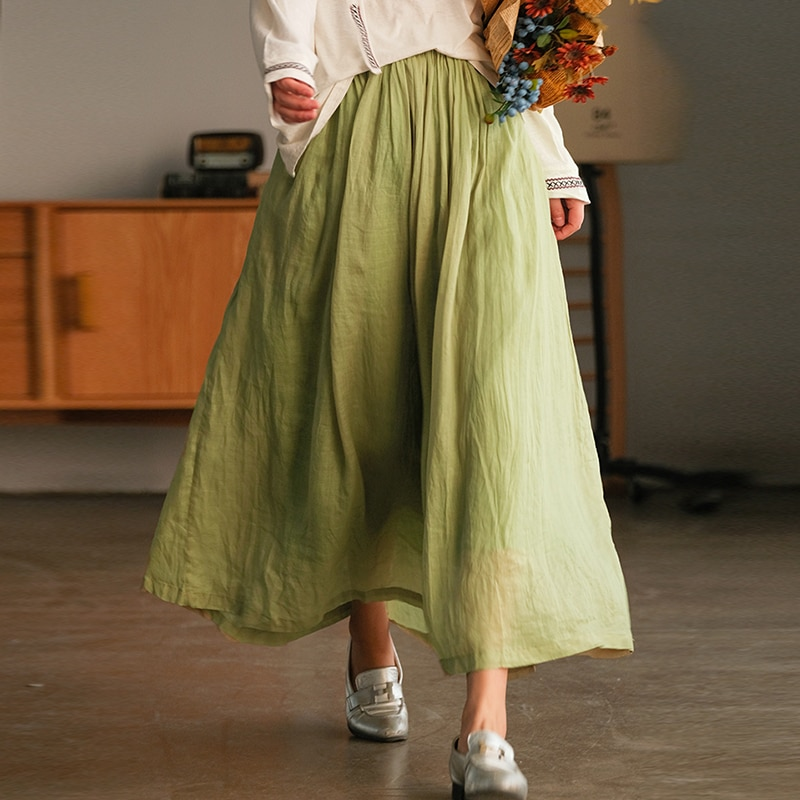 Johnature Ramie Solid Color Skirts Casual Linen Elastic Waist 2021 Women Loose All-match Vintage High Quality A-Line Skirts