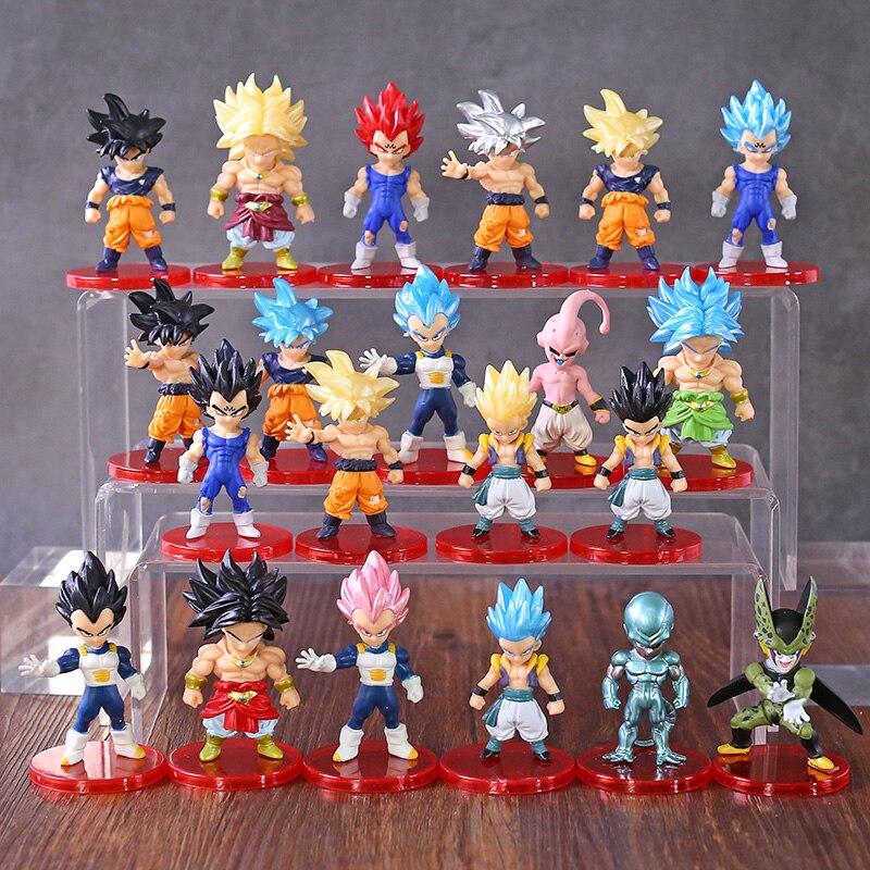 Dragon Ball Z Super Saiyan Deus Broly Goku Gotenks Vetega Majin Buu Celular Figuras Mini Brinquedos DBZ Freeza 21 pçs/set