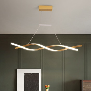 Modern LED Ceiling Chandelier Office Living Dining Room Bedroom Black Gold DNA Wave Indoor Lighting Kitchen Island Hanging Lamps