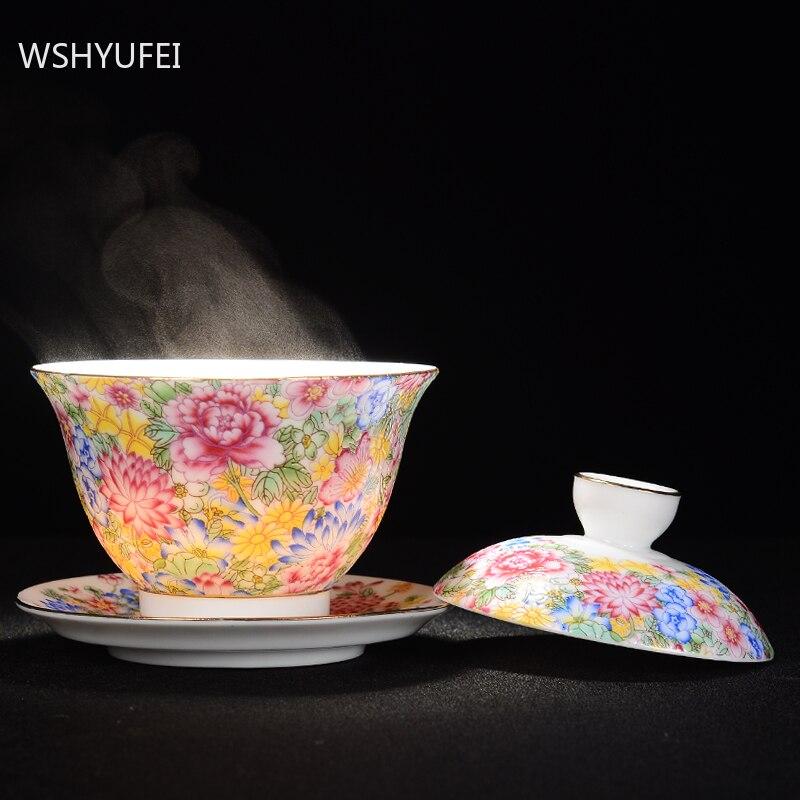 WSHYUFEI Jingdezhen السيراميك فنجان شاي Gaiwan اليدوية الشاي السلطانية ملعقة صغيرة كأس الشخصية teبينة تورين غطاء وعاء الصحن 140 مللي