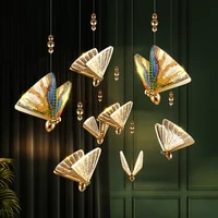 iwhd nordic butterfly led pendant light fixtures creative dinning living room stair beside lights modern hanging lamp luminaria