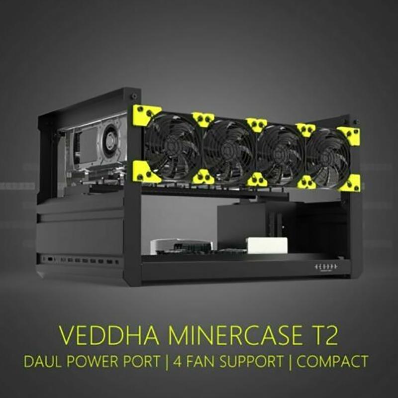 Veddha 6 GPU открытая рамка для майнинга чехол для майнинга ETH BTC чехол T2 версия + 4 вентилятора