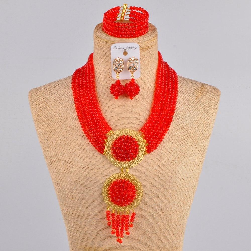 Conjunto de joyería rojo con cuentas de boda Africana collar nigeriano conjunto de joyería para mujer 6CLS01