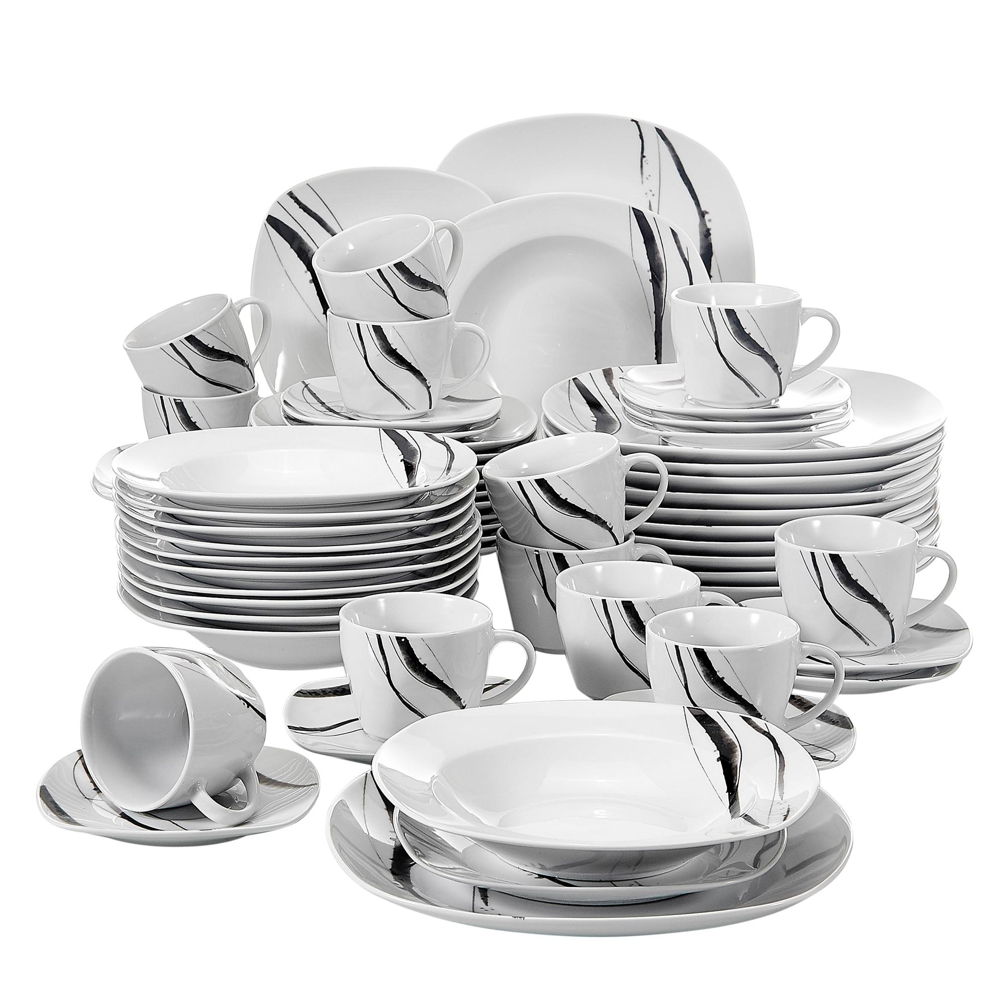 Juego de cena de porcelana China de 60 piezas de VEWEET Theresa con tazas, platos para postres, platos para sopa, juego de platos para cenar