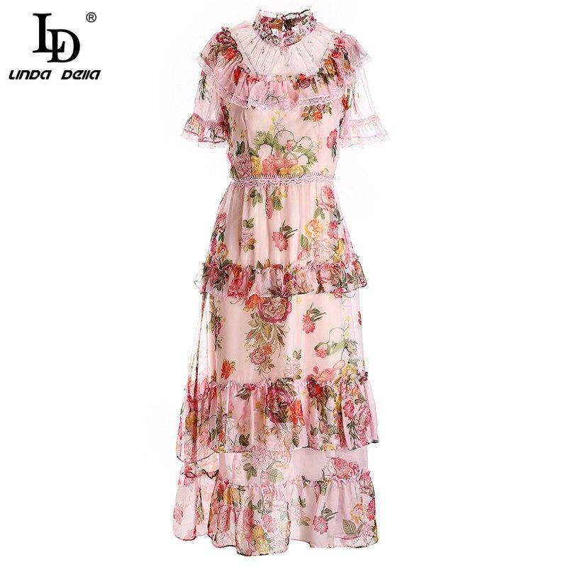 LD LINDA DELLA vestido de diseñador de moda mujeres de malla de retazos volantes de manga corta de encaje Stand collar Lady verano Cake Midi vestido