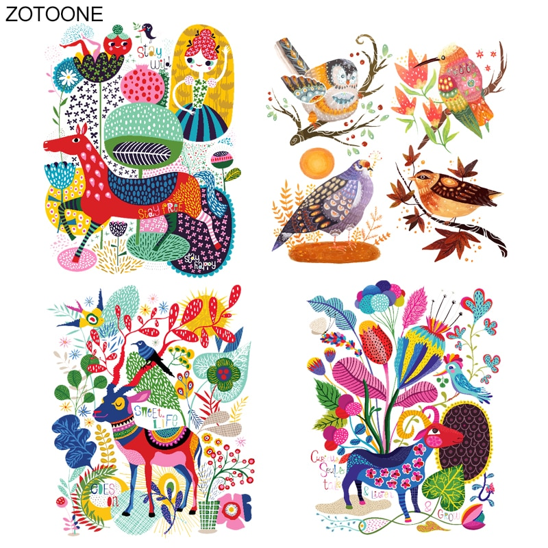 ZOTOONE железо на красочных животных Олень цветок патч передачи для одежды футболки теплопередачи аппликации DIY наклейки с дизайном «птицы» E