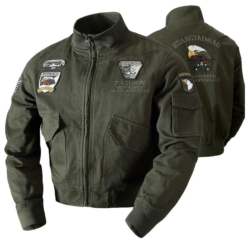Мужская куртка-бомбер в стиле милитари, осенне-зимняя повседневная однотонная куртка-бомбер на молнии, новая мужская приталенная куртка с в...