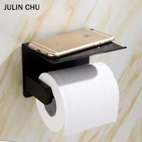 toilet paper holder with phone shelf 304 stainless steel black bathroom kitchen lavatory paper towel roll rack tissue hanger
