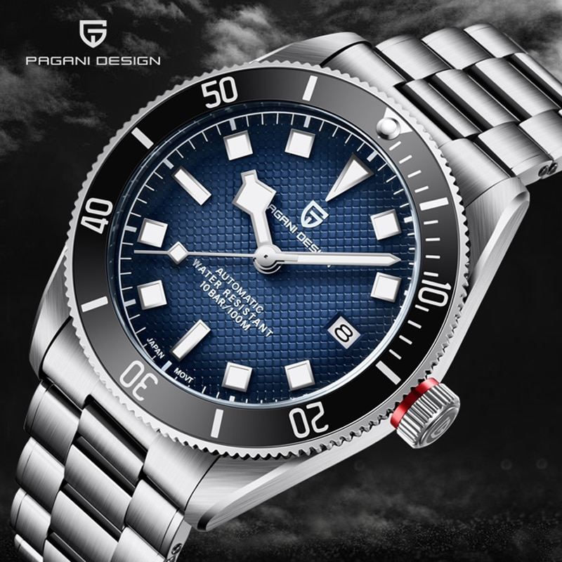 PAGANI تصميم التلقائي ساعة الرجال BB58 الرجعية الفولاذ المقاوم للصدأ الياقوت الزجاج الرجال الميكانيكية ساعات المعصم الفاخرة الرياضة مقاوم للماء