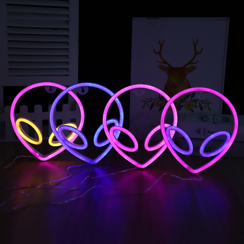 LED Neon Sign Saucerman Shaped Night Light Decorative Atmosphere Lamp for Home Party Wedding Xmas Gift Neon Light Sign Lamp New
