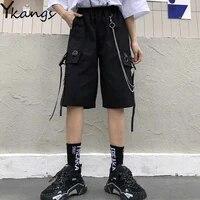 with chain big pocket hip hop women summer cargo shorts elastic high waist straight harajuku vintage sport shorts running female