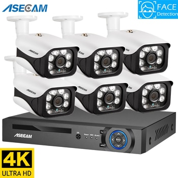 4K Ultra HD 8MP Ai Face Detection Security Camera System POE NVR Kit CCTV Video Record Outdoor Home Human Surveillance Camera