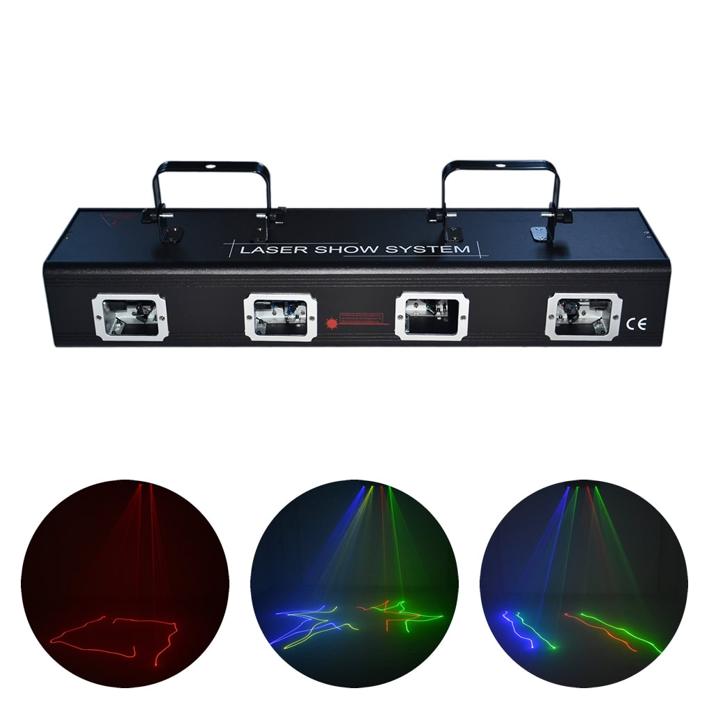 AUCD 4 Lens Beam Moving Ray Scan RGBY Laser Projector Lights 9 CH DMX PRO DJ Disco Ball Stage Lighting DJ505