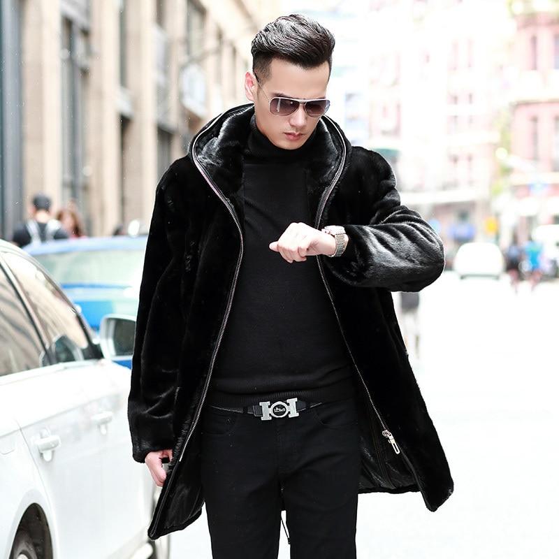 معطف فرو المنك الطبيعي 2020 للرجال ، ملابس شتوية ، ملابس رجالية ، ملابس خارجية دافئة ، Veste Homme 87299M5 YY707