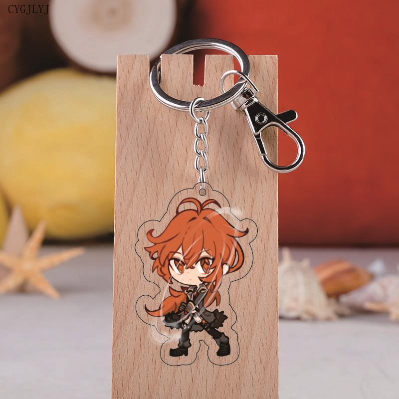Anime Genshin Impact Zhongli Diluc Keychain Cosplay Cute Game Character Venti Paimon Tartaglia Mona Acrylic Key Chain Wholesale