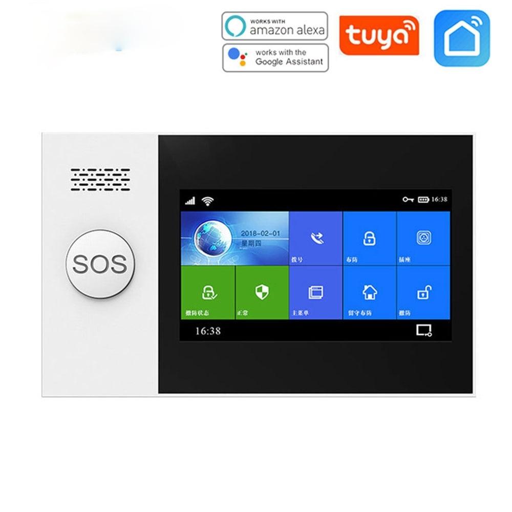 -107 Tuya Wireless Home WIFI GSM Home Security With Motion Detector Sensor Burglar Alarm System APP Control Support Alexa