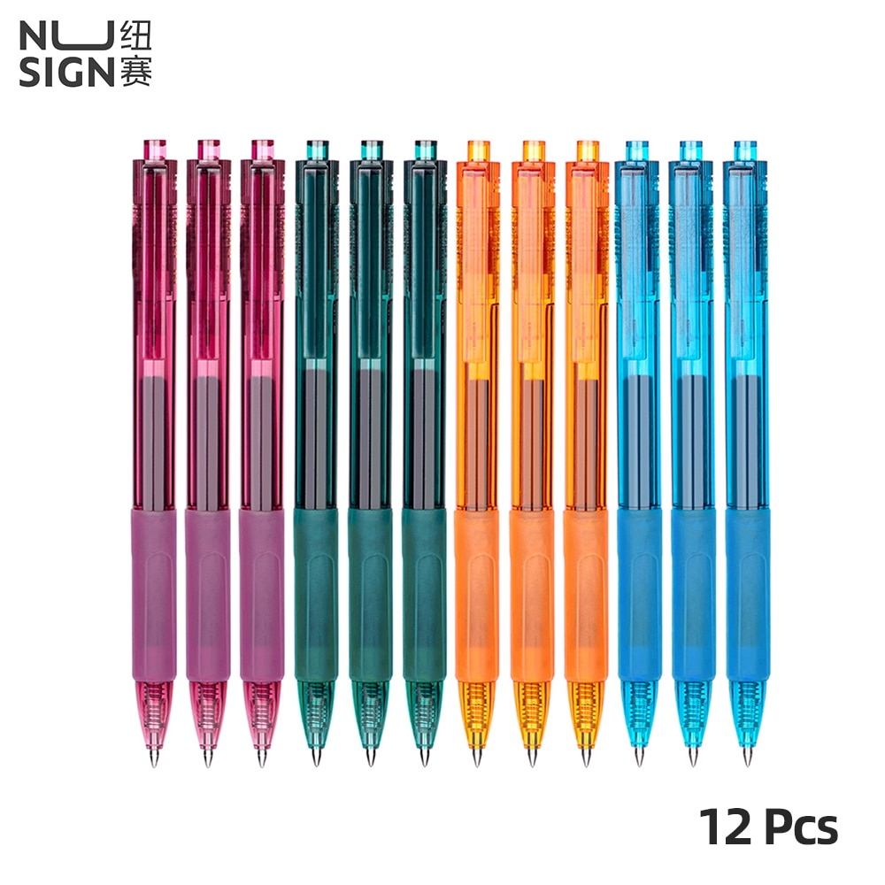 Nusign 12 Pcs/Box Smooth Gel Pen 0.5mm Black Business Office Students Press Type Gel Pen Meeting Pens Office Home Student Use