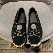 Men's Casual shoes skull Designer shoes Luxury brand Loafers for men High Quality Party Diamond Fish