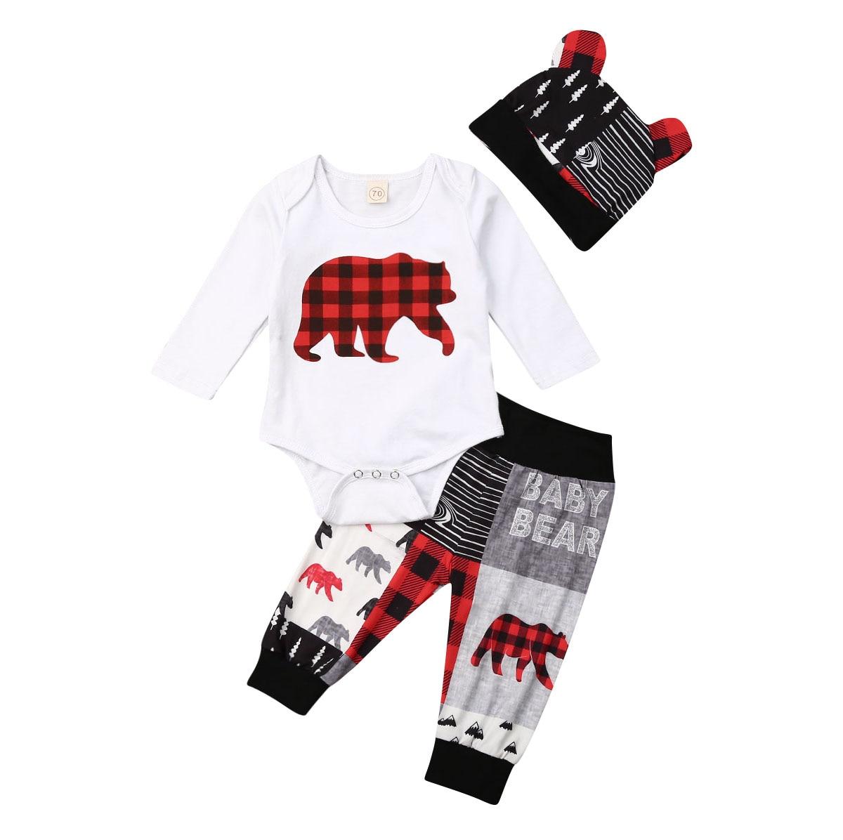 Autumn Winter 3PCS Newborn Baby Boy Girl Christmas Clothes Set Bear Print Romper Pants Bear Ear Hats Lovely Outfits 0-24M