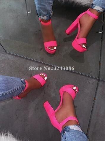 Frau Mode Rose Red Chunky Ferse Sandalen Schuhe Neue Concise Stil Fluoreszierende Gelb Kleid Plattform Sandalen Dame Leopard Sandale