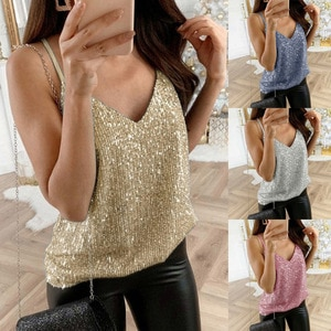Tops women 2020 summer new women's sexy V-neck sling ladies tops pearl sling casual small vest plus size Women tops S-5XL